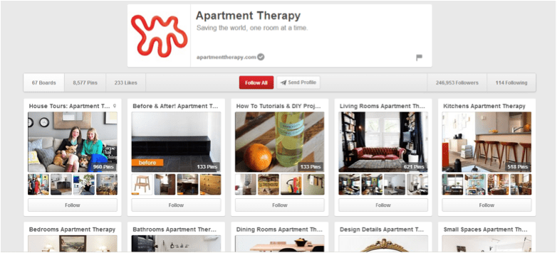 Pinterest Apartment Therapy Keyword Example