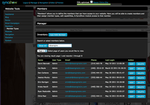 SyncShow Content Management System Members Management Screen