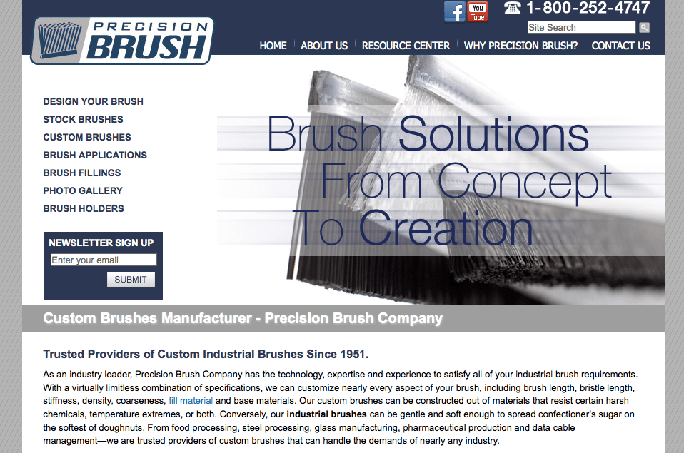 Precision Brush site launch with SyncShow Interactive