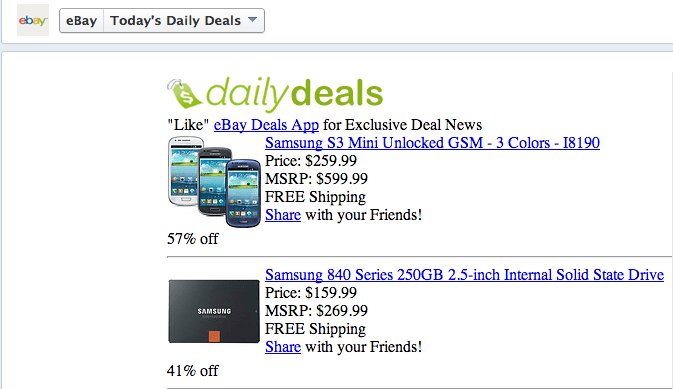 eBay daily Deals competes in the social mediasphere
