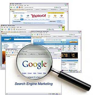 photo displaying many search engines and a magnifying glass