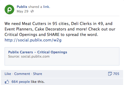 publix facebook call to action