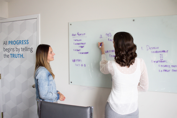 SyncShow coworkers collaborating on a white board