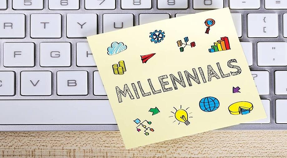 the word millennials sketched onto a sticky note