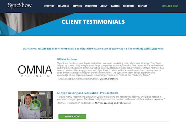 Client Testimonials Page