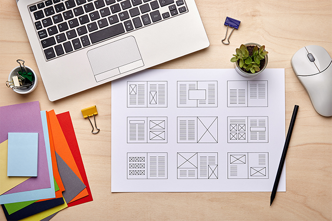 Thumbnails of Content Design on a Desk